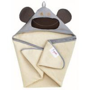 3 Sprouts Hooded Towel - osuška s kapucí - Monkey Grey (opice šedá)