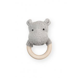 Jollein Chrastící kousátko Soft knit hippo light grey